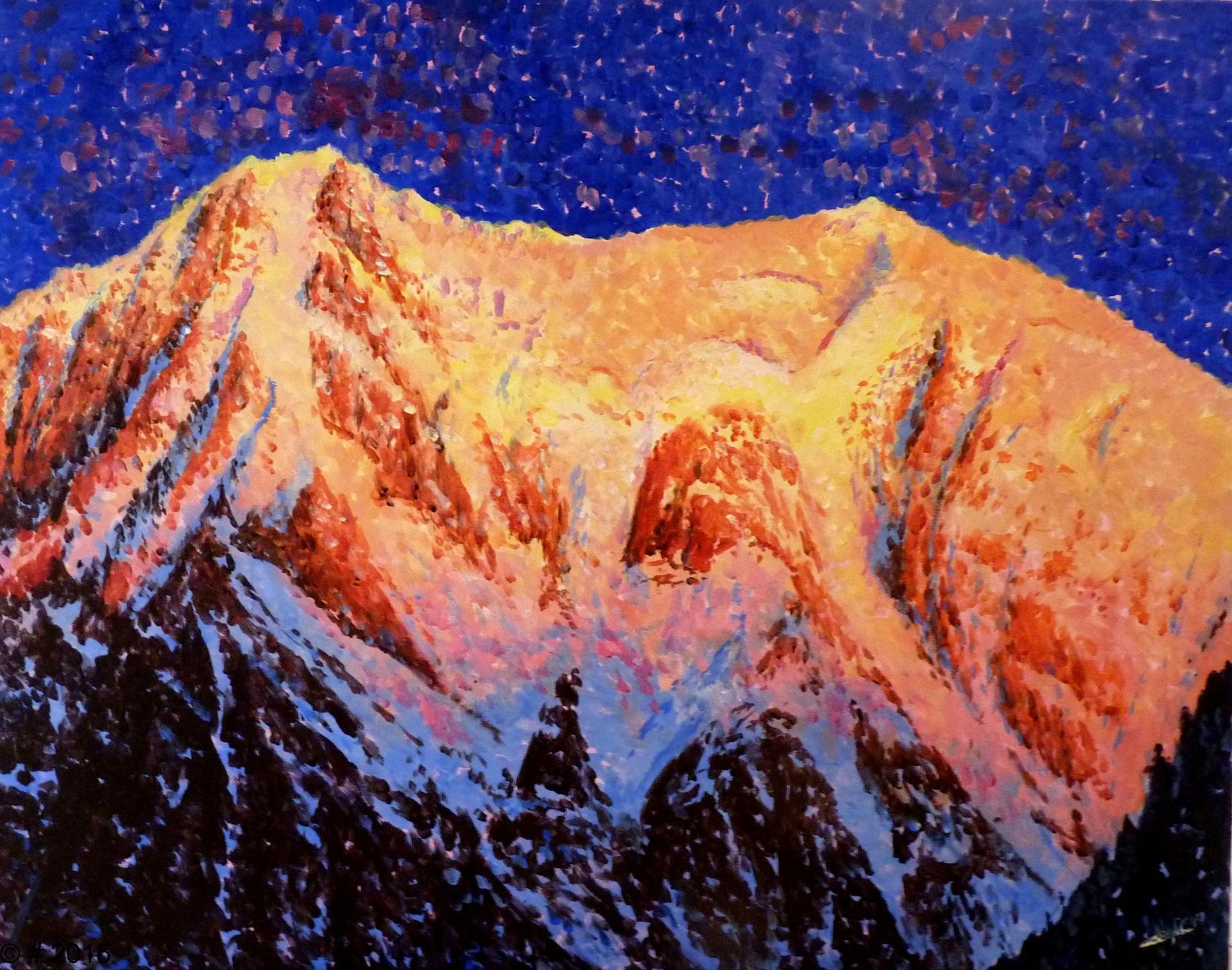 Le Mont Blanc de Courmayeur (4748m) et le Mont Blanc (4810m)